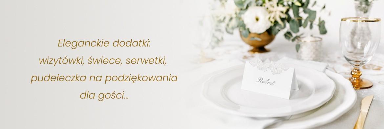 Eleganckie dodatki: wizytówki, świece, serwetki, pudełeczka na podziękowania dla gości